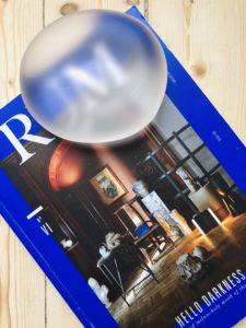 Solid glass piece on top of interior Magazine RUM